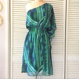 Green One Shoulder Dress size 8